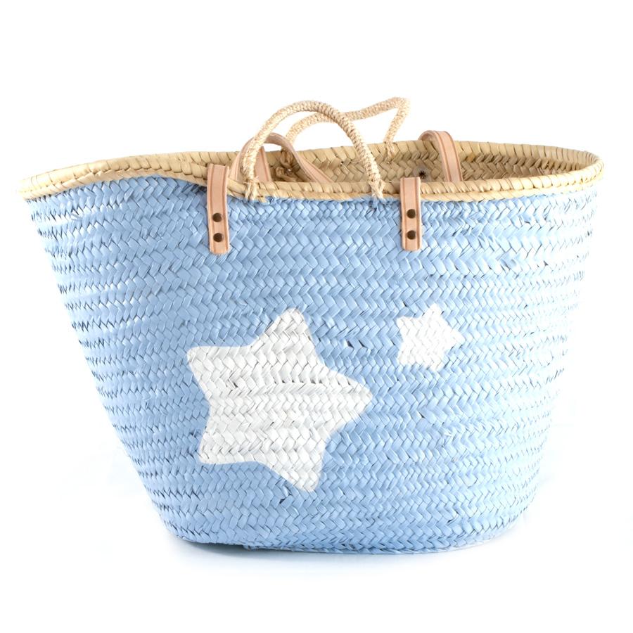 Capazo playa grande pintado azul con estrellas - Capazo mimbre playa ...