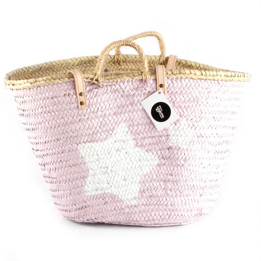 Capazo playa pintado grande rosa estrellas blancas - Capazo mimbre playa ...