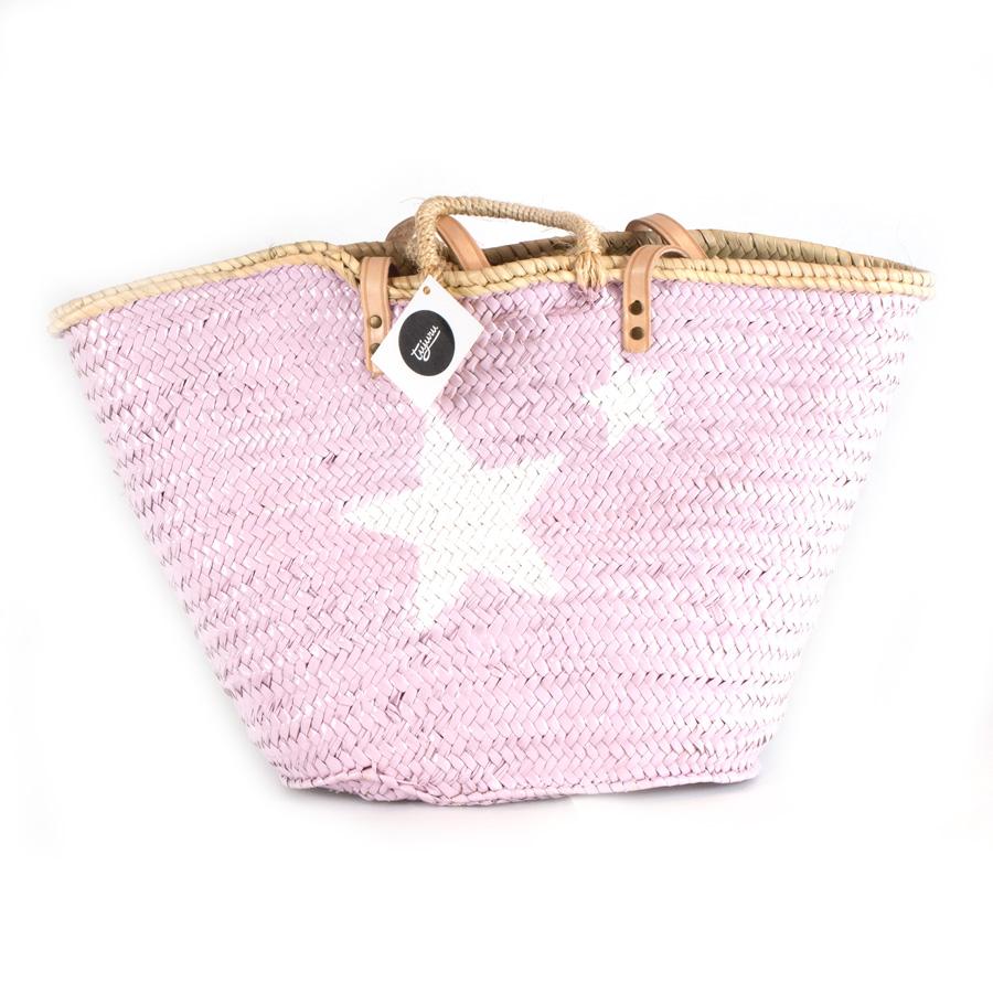 Capazo pintado grande rosa estrellas blancas - Cestas para la playa ...